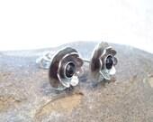 CUSTOM ORDER for LYNNE Antiqued Sterling Flower Post Earrings Black Spinel Stamens