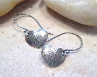 Fine Silver Leaf Earrings Sterling Earrings PMC Minimal Jewelry