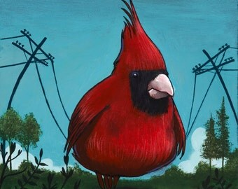 Bird on a Wire. fat bird, cardinal, birds, telephone wires, wires, colorful, pop surrealism, lowbrow, funny, cute, clever
