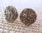 Silver Druzy Earrings, Sterling Silver Druzy Stud Earrings, Simple Druzy Silver Earrings, Titanium Druzy Post Earrings, Simple Druzy Studs