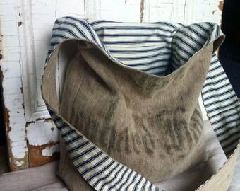1908 - reconstructed vintage linen grain sack sling bag