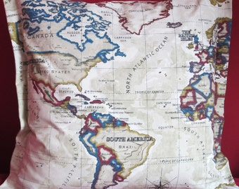 World Map Pillow Cover  World Atlas Cushion Cover 24 Inch wide Beige featuring all countries. Edged side seams.