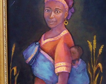 Madonna and child African Wall Art: African Woman Portrait  painting, 8x10 framed portrait of African mother and child