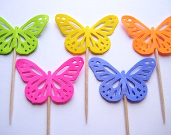 24 Bright Butterfly Party Picks - Cupcake Toppers - Toothpicks - Food Picks - die cut punch FP437