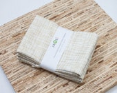 Large Cloth Napkins - Set of 4 - (N2133) - Golden Metallic Modern Reusable Fabric Napkins