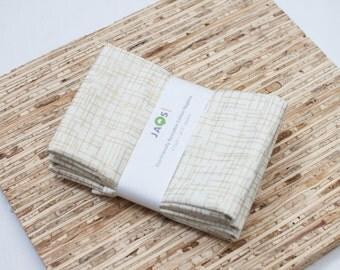 Large Cloth Napkins - Set of 4 - (N2133) - Golden Metallic Modern Reusable Fabric Napkins