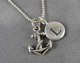 Anchor Initial Charm Necklace - Nautical Jewelry, Sterling Silver, Personalized, Bridal Jewelry