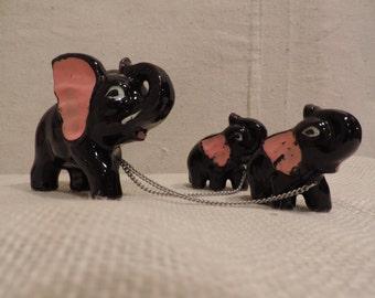 Elephant Nick Knack  Black Glazed Ceramic Elephant Kitschy Chain Animals Black Elephant Mid Century  Mama Elephant with Babies