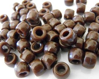 100 Chocolate Brown Pony Beads