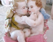 vintage cherubs figurines porcelian shoe figurine