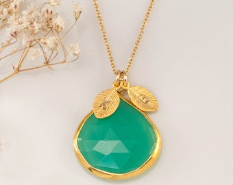 Chrysoprase Necklace - Personalized Necklace - Customize Initials Necklace - Gemstone Necklace - Gold Necklace