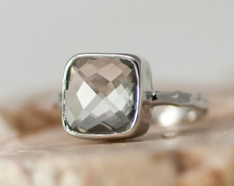 Green Amethyst Solitaire Ring - Statement Ring - Stackable Ring - Sterling Silver Ring - Cushion Ring