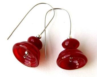 Lampwork earrings - Red bells - Art earrings - Handmade glass - Murano glass - Stainless steel