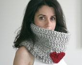 Knitted Scarf Cowl with Heart // Marble Grey and Cranberry // The Stringer Cowl