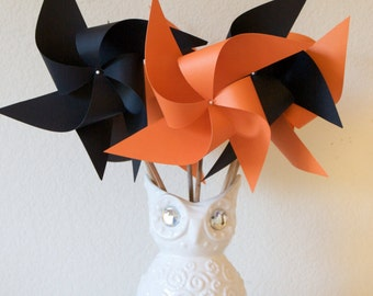 Bridal Shower Decoration, Bridal Shower black and orange, Birthday Carnival Circus Decor Orange and Black - 6 large Pinwheels custom welcome