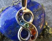 Rainbow Infinity Chakra Pendant, Rainbow Chakra Healing Pendant, Rainbow Pendant, Infinity Symbol, Sterling Silver Infinity Symbol, Chakras