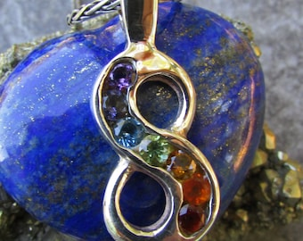 Rainbow Jewelry - Chakra Gemstone Jewelry - Rainbow Necklace - Infinity Necklace - Rainbow Pendant