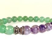Yoga Bracelet, Green Aventurine Bracelet, Amethyst Bracelet, Healing Bracelet, Stretchy Bracelet, Mala Bracelet, LOVING CALM