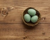 Needle Felted Dusty Mint Green Easter Eggs in Nest, Felt Eggs, Spring, Summer, Home Decor, Wedding Decoration, Rustic, Housewarming Gift