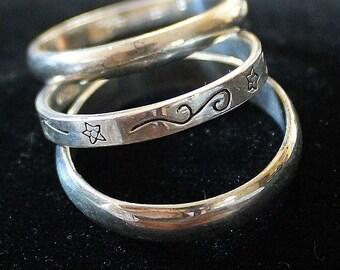 Vintage Estate Etched Triple Sterling Silver Rings