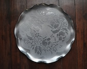 Vintage Floral and Scalloped Pewter Metal Tray
