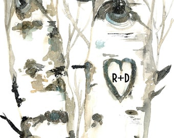 Watercolor Gift Personalized Print in 3 sizes   Woodland Romance Customized with Initials
