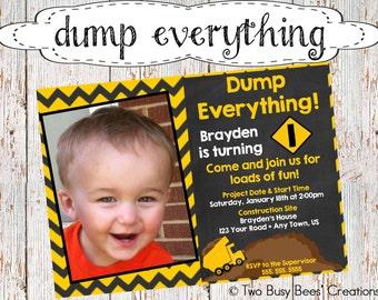 Dump Everything! Construction/Dump Truck Birthday Party Invitation