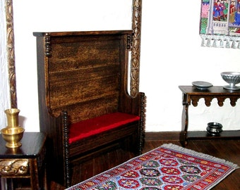 Tudor Bench, Red Silk Cushion, Medieval Settle, Dollhouse Miniature 1/12 Scale, Hand Made in the USA