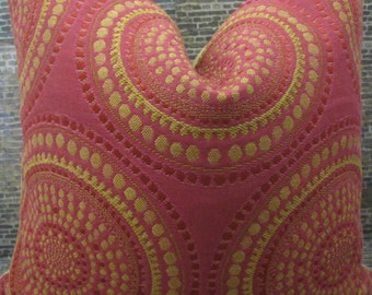 Designer Pillow Cover  18 x 18, 20 x 20, 22 x 22 - Sunburst Medallion Fushia