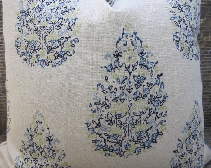 Designer Pillow Cover - Lumbar, 16 x16, 18 x 18, 20 x 20, 22 x 22 - JR Kedara Madder Blue Green