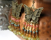 Chandelier Earrings Butterfly in Spring Colors with Czech Glass