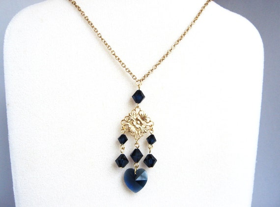 Gold Filigree Necklace, Fancy Filigree Pendant with Dark Blue Crystal Heart, Dark Blue and Gold Pendant Necklace, Fashion Necklace
