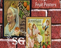 Vintage Fruit Company Posters Art - 2.5x3.5 inch Digital Collage Sheet sg804 - ATC Cards, Gift Tags, Jewelry Holders, Arts & Craft Projects