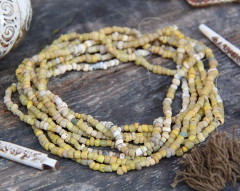 Mustard: Yellow Djenne Beads from Mali / Roman Glass Beads / Antique Strand, 4x3mm / Tube Beads, Supplies for Jewelry Making