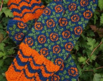 Finely Hand Knitted Seto (Estonian) Mittens XOXOXO - warm and windproof
