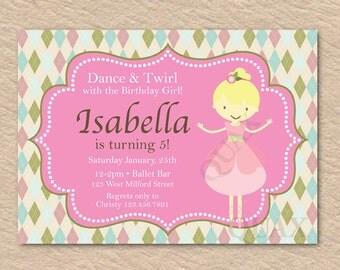 Ballerina Invitation, 1st Birthday, Ballerina Printable Invitation, Ballerina Birthday, Ballerina Party, Ballet Invitation, Ballerina Invite