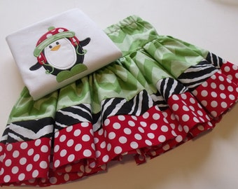 SALE  Christmas Ruffled Skirt and Penquin Applique Shirt - Girl's Christmas Outfit