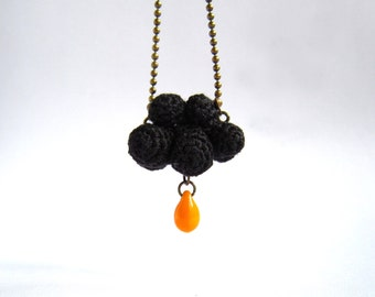 Winter Necklace Black cloud and orange raindrop. Crochet cloud. Gothic necklace