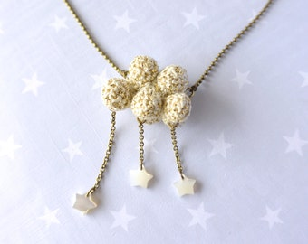 Winter necklace crochet Cloud with snow. Star cloud. Winter cloud