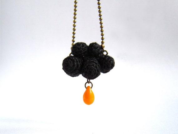 Winter Necklace Black cloud and orange raindrop. Crochet cloud. Gothic necklace