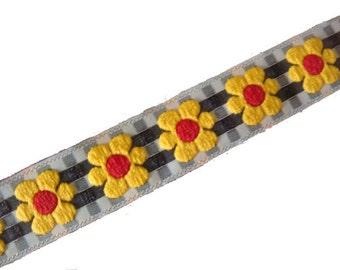 1 yard yellow sunflower red black white checkered jacquard ribbon 3/4 inch wide.