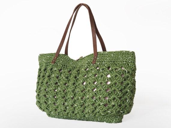 BAG // Green summer Handbag - Shoulder bag with Genuine Leather Straps