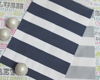 100 Navy and Silver Rugby Stripe Candy Bags, Silver and Navy Wedding Rugby Candy Bags, Navy Rugby Popcorn Bags, Favor Bags, Party Bags