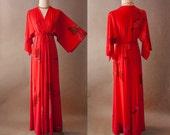 STENCIL Flame Goddess Maxi Dress Sz 8 Vintage 1970's Shawl Sleeve Pull On Gorgeous