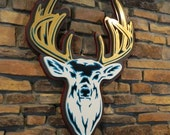 Pop Art style white deer head with gold antlers