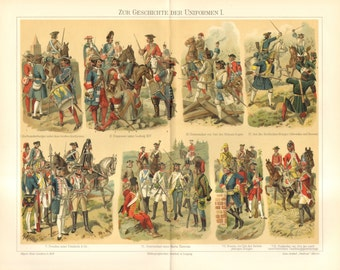 1905 History of Uniforms of European Countries Original Antique Chromolithograph to Frame