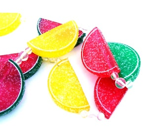 Vintage Christmas Tree Garland Retro Candy Fruit Slices Mid century Holiday Ornaments Colorful Jelly Candies