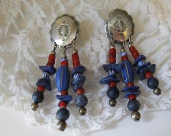 Vintage Southwestern Artisan Silver Beaded Dangle Earrings