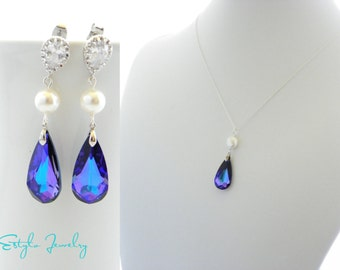 Purple Swarovski Bridal Jewelry Set, Purple Peacock Bridesmaid Earrings and Necklace, Purple  Crystal Wedding Jewelry, Maid Of Honor Gift