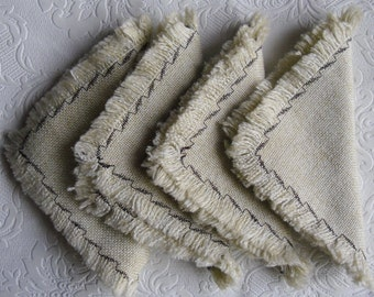 Vintage Woven Napkins - Set of 4 Napkins in a Natural Shade with Fringe and Chocolate Edging